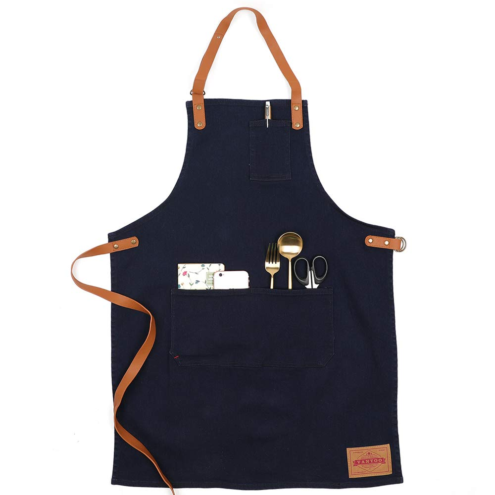 VANTOO Professional Denim BBQ Gill Chef Art Apron