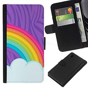 EJOY---La carpeta del tirón la caja de cuero de alta calidad de la PU Caso protector / Sony Xperia Z1 L39 / --Pintura del arco iris LGBT Derechos Gay Arte