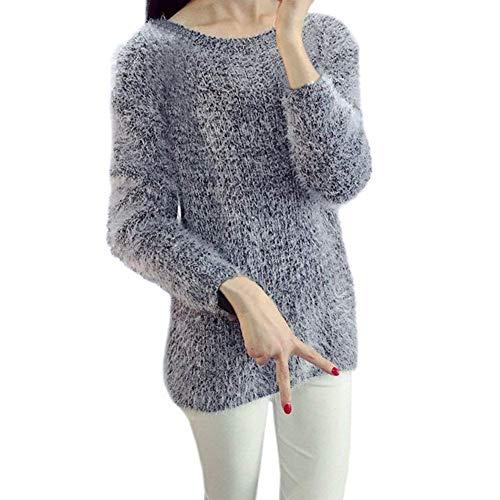 Vintage Moda Elegante Grazioso Maglia Collo Camicia Pullover Donna Bianca Caldo Camicetta Tops Lunga Casual Rotondo Autunno Invernali PSwzAnqF