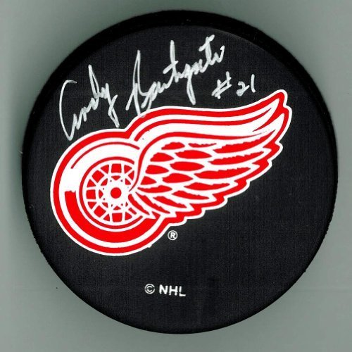 Andy-Bathgate-Autographed-Detroit-Red-Wings-Hockey-Puck