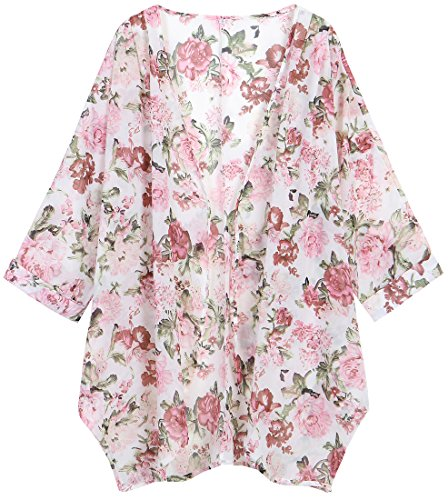 OLRAIN Women's Floral Print Sheer Chiffon Loose Kimono Cardigan Capes (Large, Pink Floral)