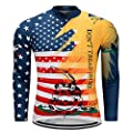 Men's Cycling Jersey Long Sleeve Men Bike Shirt Tops, M-XXXL, Comfortable, Breathable and Quick-Dry