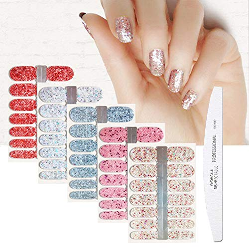 BornBeauty 5pcs Glitter Nail Wraps Polish Decal Strips With 1Pcs Nail File Adhesive Shine Nail Art Stickers Manicure Kits For Women ()
