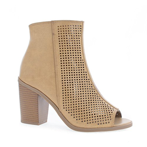 Peep Toe Laser Perforated Chunky Heel Ankle Booties
