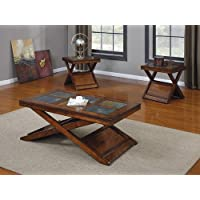 Acme 80166 3-Piece Benicia Coffee/End Table Set, Dark Oak and Slate Finish