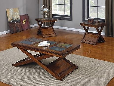 acme 3piece benicia coffeeend table set dark oak and slate