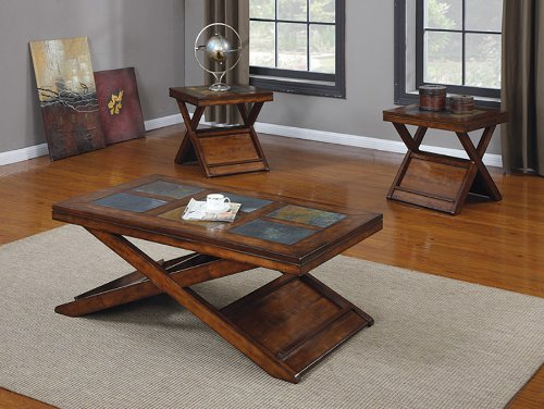 Acme 80166 3-Piece Benicia Coffee/End Table Set, Dark Oak and Slate Finish