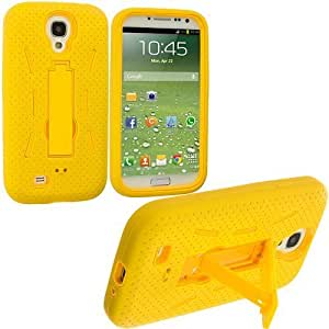 Best-Diy Hu Xiao Accessory Planet Yellow / Yellow Heavy Duty Hybrid Hard/Soft Silicone case cover with Stand Accessory for OlhbfQLGYCP Samsung Galaxy S4