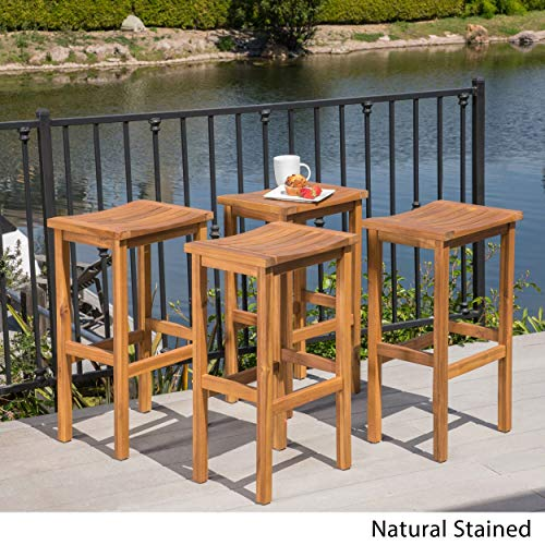 Christopher Knight Home Caribbean Outdoor 30-inch Acacia Wood Barstool (Set of 4) by Natural Stained