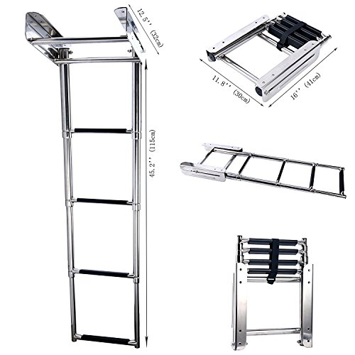 Amarine Made 4-Step Stainless Steel Under Platform Slide Mount Boat Boarding Telescoping Ladder - FBA (B)