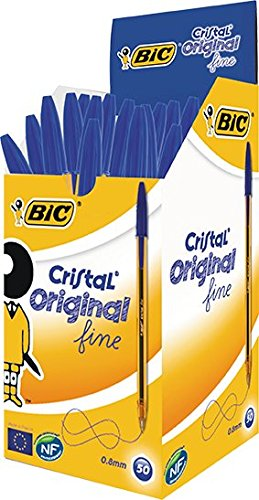 BIC Kugelschreiber Cristal fine, mit Kappe, 0.35mm, Schachtel à 50 Stück, blau