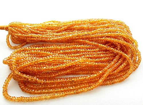 (SONGEA sapphire Natural Yellow SAPPHIRE faceted beads,rondelles beads, 1.5 mm to 3 mm Approx,18
