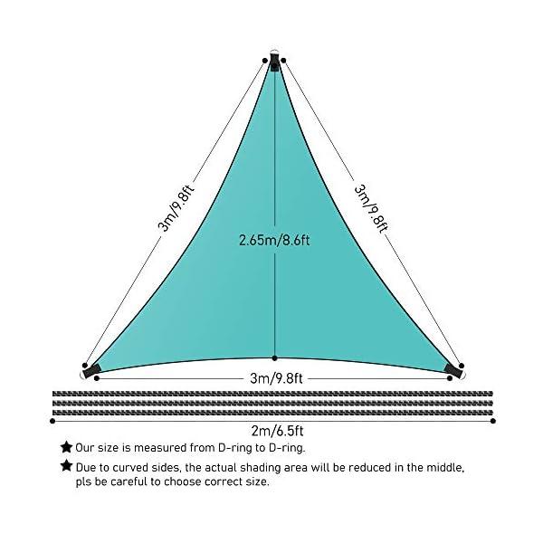 Molbory Sonnensegel Dreieckig mit Befestigungsseile 4x4x4 m, Sonnensegel Sonnenschutz UV Schutz Windschutz Wetterschutz…