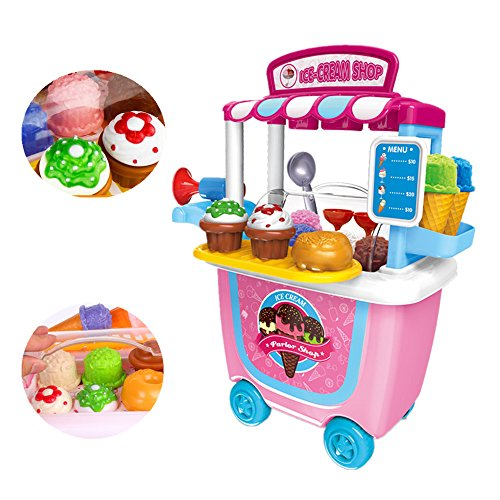 (dream_light Pretend Play Ice Cream Shop Trolley Playset, 31Pcs/Set Gourmet Ice Cream Cart Food Roleplay Set, Educational Puzzle Toy for Kids Boys Girls Toddler, Fun&Learning Toys)