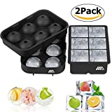Image of Ice Cube Trays, 2 Pack Easy Release Silicone Ice Trays - Large Square Cocktail Ice Cube Molds and Sphere Round Whiskey Ice Ball Maker for Chilling Bourbon Whiskey, Cocktail, Beverages by Cynkie
