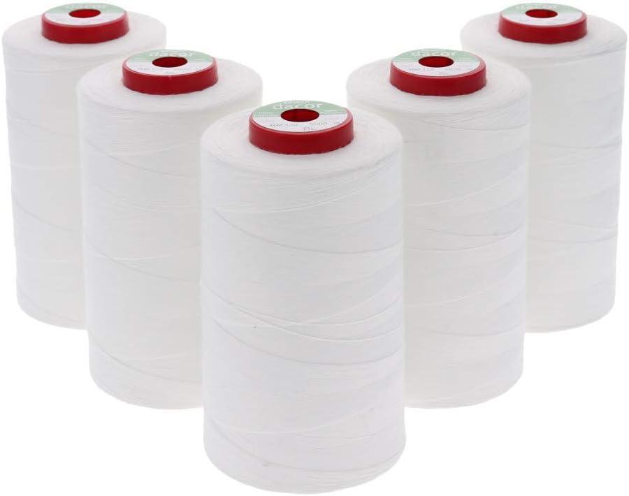Sewfil dacor 120-5 conos de hilo de coser de poliéster - Pack de 5 bobinas (5 x 5.000 metros) - Blanco