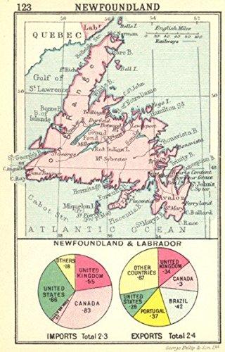 Small Map Of Canada.Canada Newfoundland Newfoundland Labrador Small Map 1912