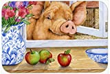 Caroline's Treasures CDCO0352CMT ''Pig trying to reach the Apple in the Window'' Kitchen or Bath Mat, 20'' H x 30'' W, Multicolor