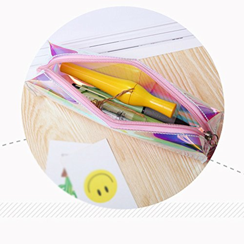 wdoit Multicolor Laser transparent Pencil-Bag Wasserdicht Drei – dimensionale Tasche Bleistift Stationery Aufbewahrungsbox 20 * 9 * 6 cm SgQPx