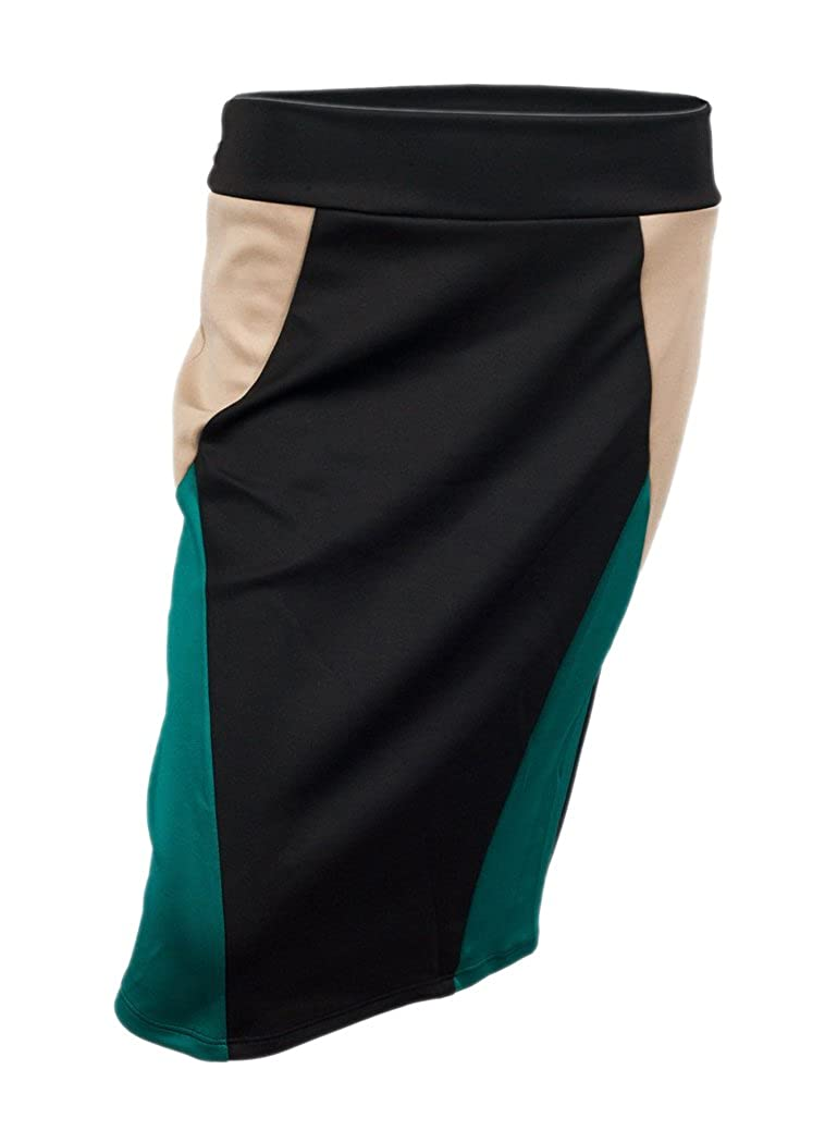eVogues Plus Size Color Block Skirt Teal S20140919B_BLU-0001