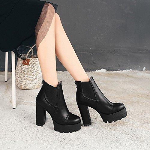 Carolbar Heel Women's Short Concise Platforom High Zip Modern Boots Elastic Black wqZBHrwx