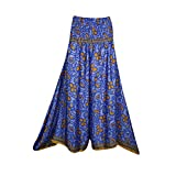 Mogul Interior Elena Women's Printed Palazzo Pant Skirt High Waist Split Skirts S/M