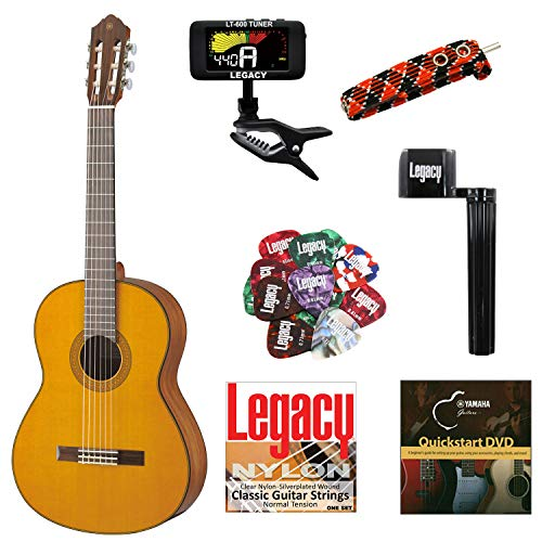 Yamaha CG142 Solid Top Classical Guitar, Natural, with Legacy Accessory Bundle, Many Choices