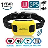 AngelaKerry Wireless Dog Fence System with GPS - NO Electric Shock - Outdoor Pet Containment System Rechargeable Waterproof Vibration Collar 850YD Remote for 15lbs-120lbs Dogs (Yellow)
