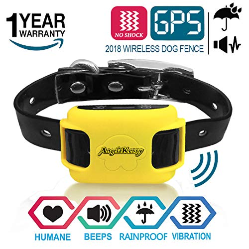 AngelaKerry Wireless Dog Fence System with GPS, NO Electric Shock, Outdoor Invisible Pet Containment System Rechargeable Waterproof Vibration Collar 850YD Remote for 15lbs-120lbs Dogs (Black)