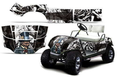 1995-2006 Yamaha Golf Cart AMRRACING ATV Graphics Decal Kit-Mad Hatter-White-Black