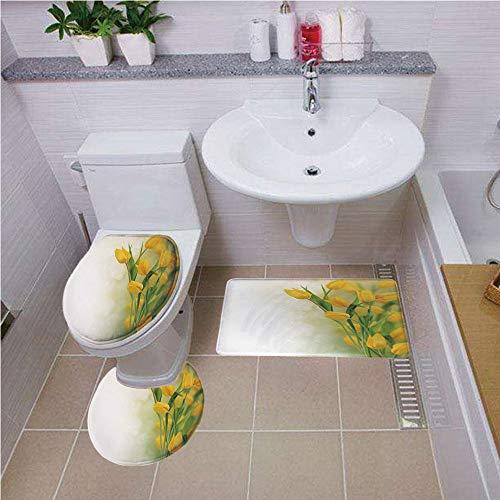 Bath mat set Round-Shaped Toilet Mat Area Rug Toilet Lid Covers 3PCS,Yellow Flower,Romantic Tulip Bouquet Famous Plant of Netherlands Botanical Theme Decorative,Mustard Fern Green ,Bath mat set Round-