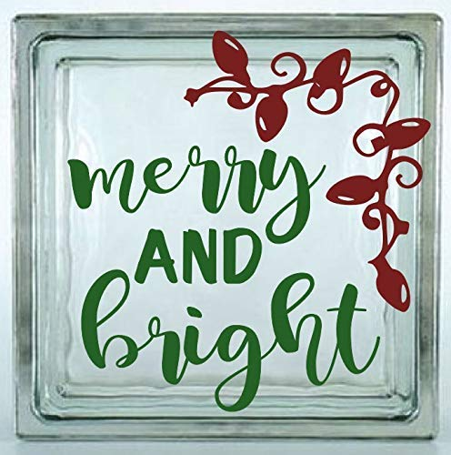 glass block etc. crafting Choose the size . Perfect for car windows Glass Block Not Included Merry and Bright Decal