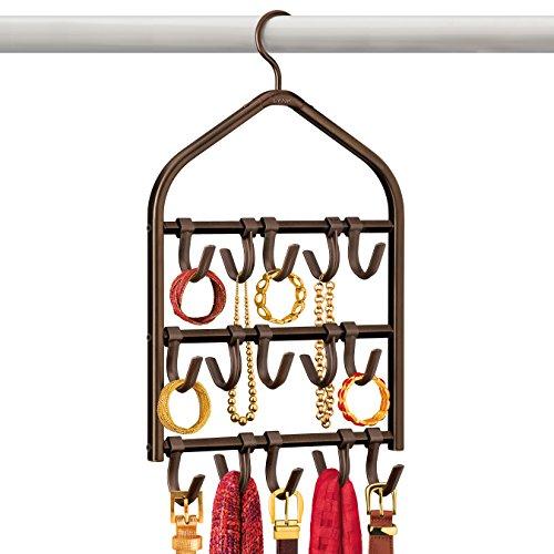 Lynk Double Sided Scarf Hanger - Belt, Hat, Jewelry, Accessory Holder - 15 Hook Closet Organizer Rack - Bronze