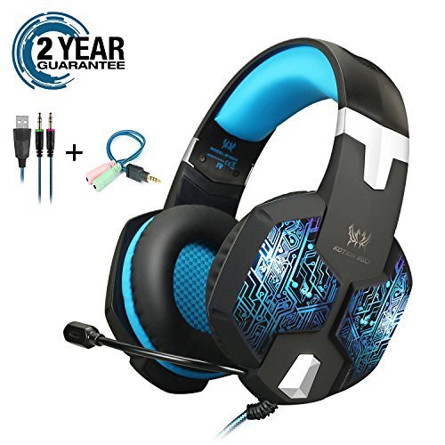 Gaming Headset with Mic and USB RGB LED Light for PS4 Xbox One PC Nintendo Switch,Lightweight Stereo Sound Over Ear Headphones,Soft Memory Earmuffs & Noise Cancelling & Volume Control by KOTION EACH