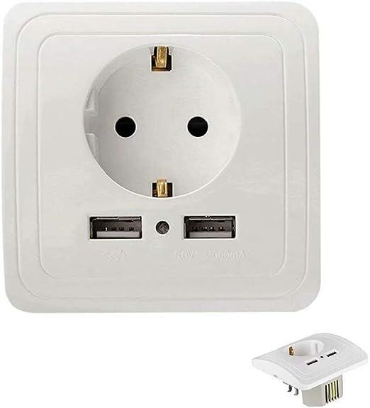 Malasia Enchufe de Pared USB, Caja de Enchufe Schuko con 2 Puertos ...