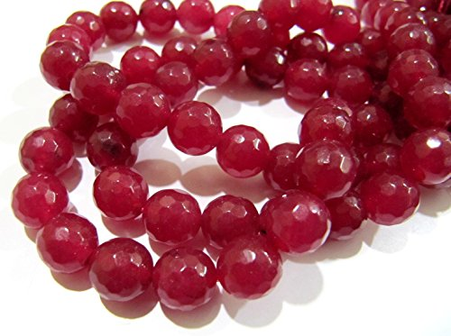 - AAA Quality Natural Ruby Jade Round Faceted Beads 8 mm / sold per string 15 inches Long / 40-45 Beads Approximately / Hole 1 mm- Wholesale
