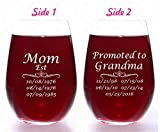 Mom Est Customized Two Side Engraved Large Wine Glass