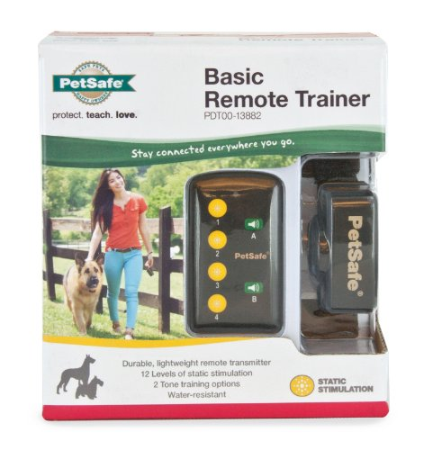 PetSafe Basic Remote Dog Training Collar for Dogs 8 lb. and Up with Tone and Static Stimulation, Water Resistant, Up to 75 Yards