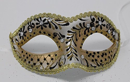 LADIES GOLD & BLACK CRYSTAL JEWELLED VENETIAN MASQUERADE CARNIVAL PARTY EYE BALL - Jeweled Party Mask