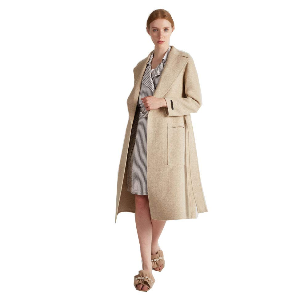 CG Women's Long Double Wool Coat Lapel Parka Jacket Cardigan Overcoat Outwear with Belt G026 (Beige, L)