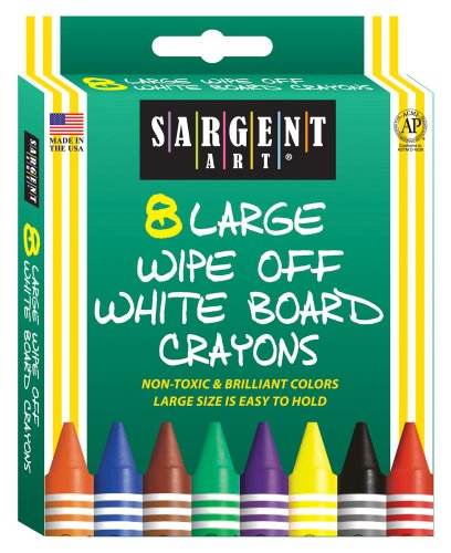 Wipe Off Crayons (Sargent Art 35-0522 8-Count Large Wipe-Off White Board Crayons, Peggable)