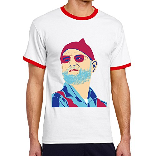 Men's Cool The Life Aquatic Contrast Ringer Tshirt XL -