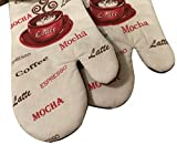 "Custom & Durable {11"" x 6"" Inch} 2 Set Pack, Mid Size ""Non-Slip"" Pot Holders Glove Made of Cotton for Carrying Hot Dishes w/ Cup of Coffee Mocha Espresso Style [Red, White, & Brown]"