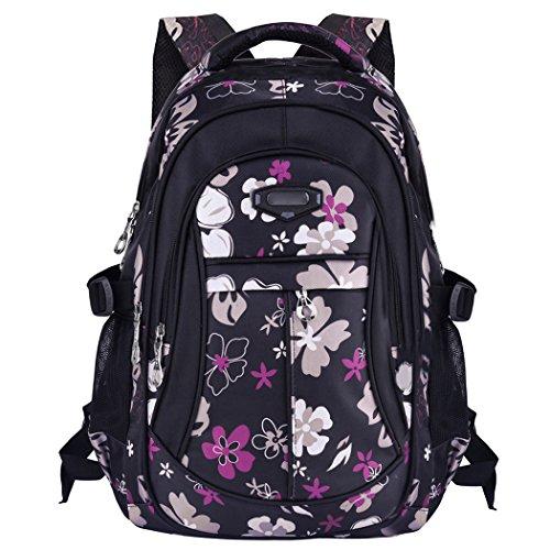 Tinksky Flowers Pattern Primary School Bookbag Girls Backpack Book Bags Black
