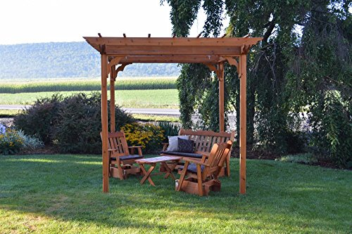 A&L Furniture Co. 8' x 8' Amish-Made Cedar Pergola with 3pc Glider Lounge Set and Coffee Table, Redwood