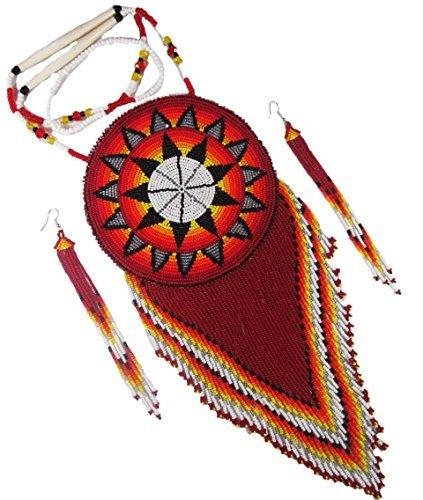 VivaApparel Handmade Red Black Beaded Star Bead Work Necklace Earrings Ethnic Jewelry Medallion Set 6-120