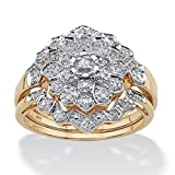 Solid 10K Gold Round Pave Diamond 3 Piece Pave Bridal Ring Set (.14 cttw, HI Color, I3 Clarity) Size 9