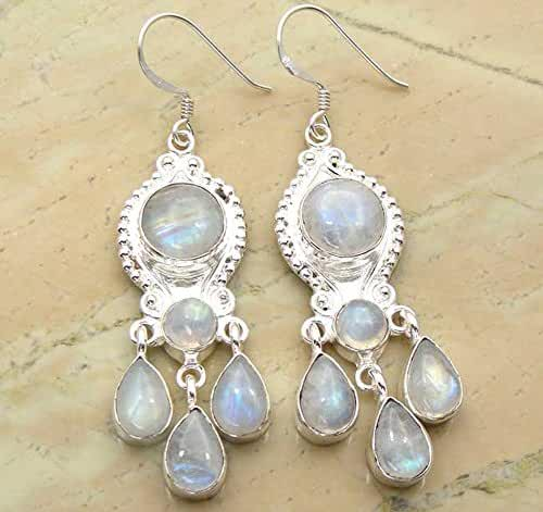 Genuine Rainbow Moonstone 925 Sterling Silver Overlay Handmade Fashion Earrings Jewelry