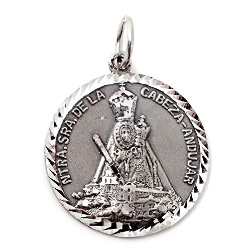 Medalla-plata-Ley-925m-Virgen-de-la-Cabeza-Andujar-26mm-maciza-detalles-tallados-brillo-mate-cerco-helice