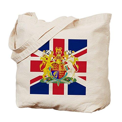 Cafepress–Bandiera del Regno Unito e stemma–Borsa di tela naturale, tessuto in iuta